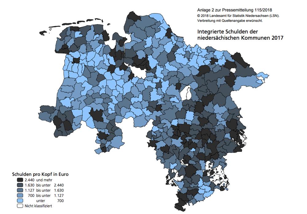 Die integrierten Schulden der niedersächsischen Kommunen in der Übersicht. Quelle: Landesamt für Statistik Niedersachsen (LSN)