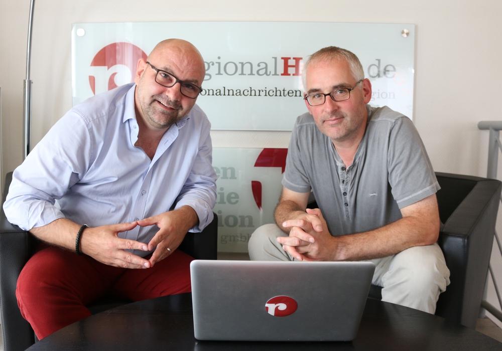 Kulinarisch38.de wird regionalKulinarisch.de - der langjährige Betreiber, Andreas Molau (rechts), und der neue Betreiber, Marc Angerstein, freuen sich über den köstlichen Zugewinn. Foto: Werner Heise