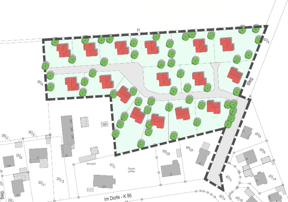 "Das zukünftige Baugebiet ""Kirchfeld"" in Jelpke, Bild: Gemeinde Jelpke."