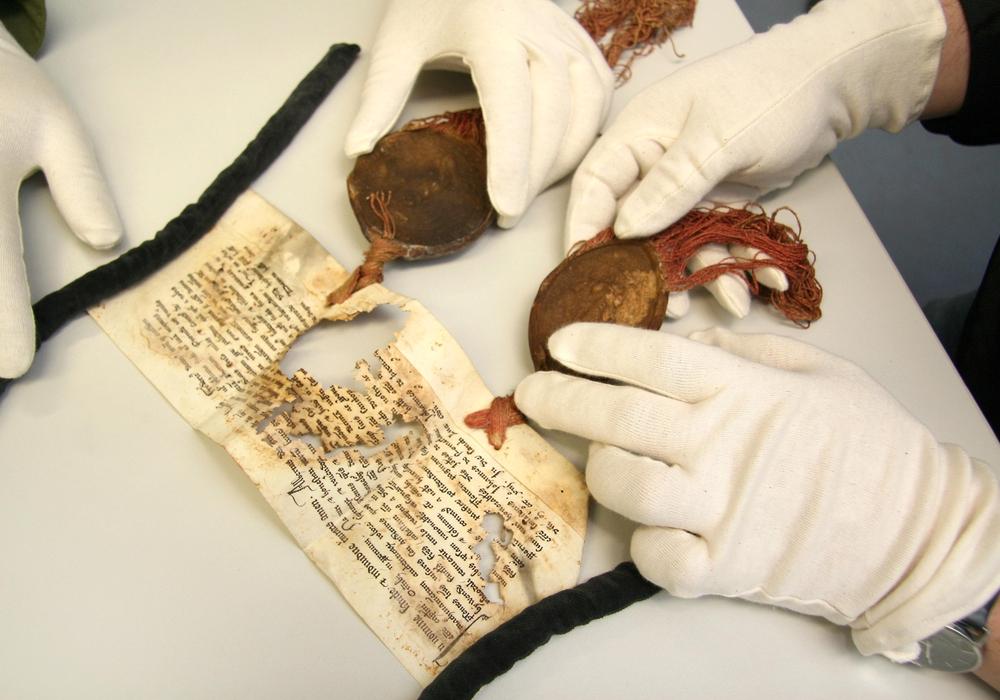 Fehlstellen und beschädigte Siegel an einer Urkunde des Domstifts von 1313. Foto: Martin Schenk