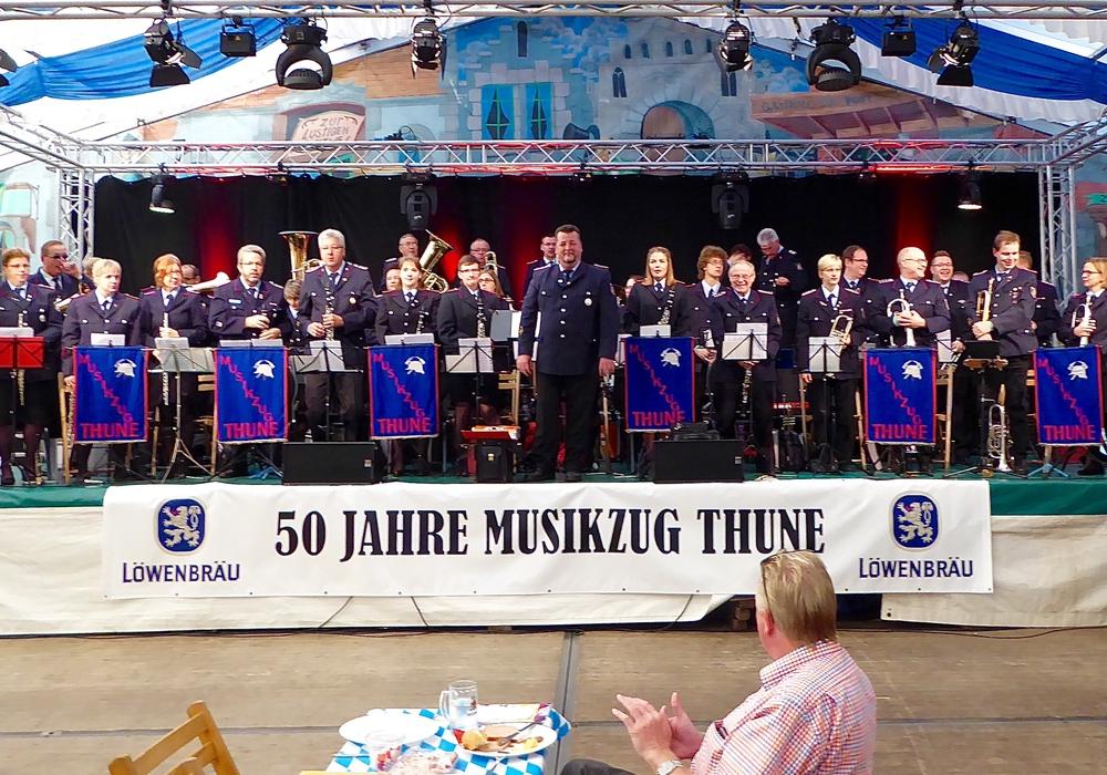 Der Musikzug der Feuerwehr Thune feierte im vergangenen Jahr Jubiläum. Foto: Veranstalter