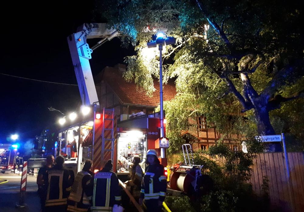 Ein Großaufgebot von Feuerwehrkräften war vor Ort. Fotos: Kreisfeuerwehr/Meißner