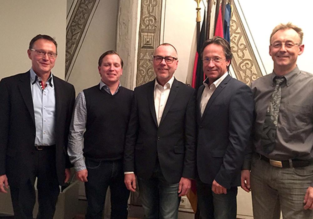 Von links: Schatzmeister Hartwig Brodde, Schriftführer Andre Volke, zweiter Vorsitzender Harald Borm, Vorsitzender Sven Heß und sein Vorgänger Jörg Trautmann. Foto: Stadt Wolfenbüttel