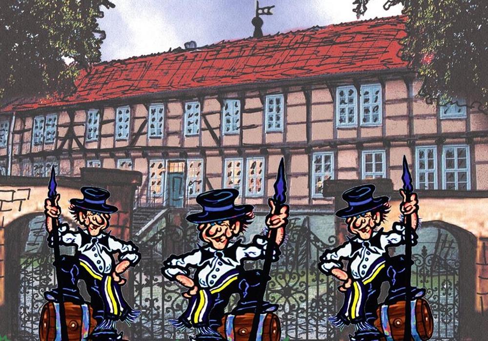 Speerträger am Schlosstor. Fotos: Fallersleber Speerträger
