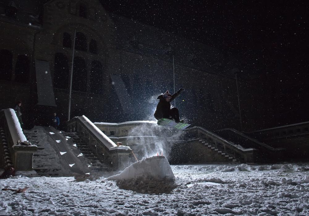 Snowboarden an der Kaiserpfalz. Foto: Alec Pein