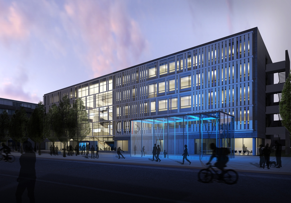 Nachtansicht der Carl-Hahn-Schule, Eingangssituation am Schachtweg. Visualisierung: pbr Eustrup Architekten GmbH.