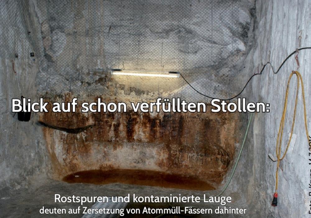 Der Laugensumpf vor Kammer 9 auf der 750 Meter-Sohle. Laut Koordinationskreis will das BfS hier verfüllen lassen. Foto: Ralf Krupp/Koordinationskreis