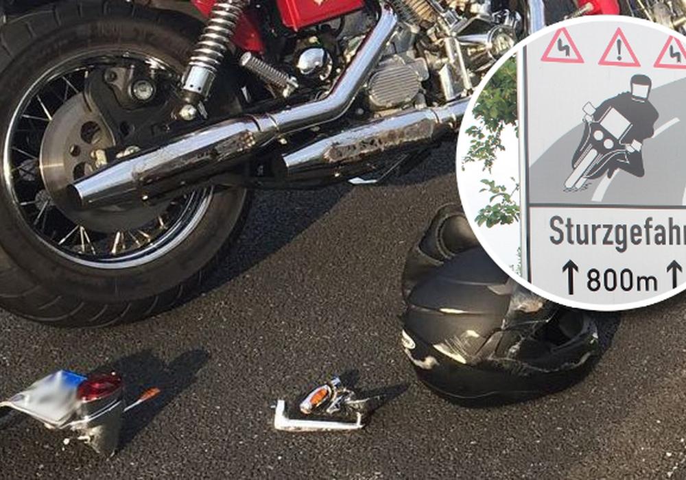 Am Dienstag gab es wieder einen Unfall auf der K83. Seit Anfang August gibt es an der Stelle zwischen Altenrode und Werlaburgdorf bereits Warnschilder für Motorradfahrer. Foto: Nick Wenkel/Archiv