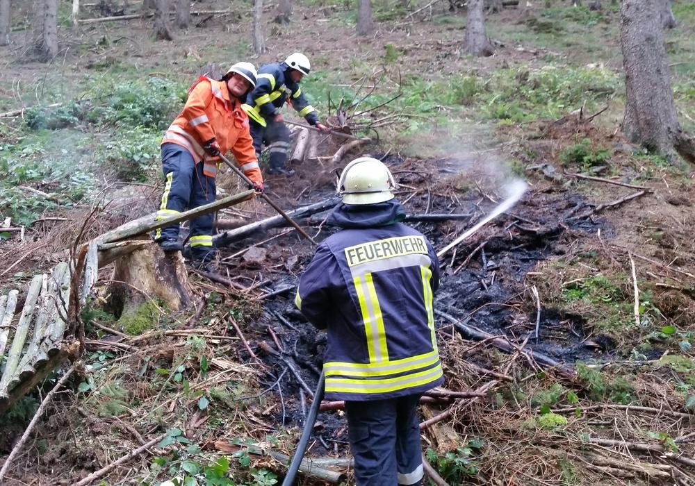 Einsatzkräfte beim Löschen des Flächenbrandes im Dörpketal. Foto: Feuerwehr Goslar