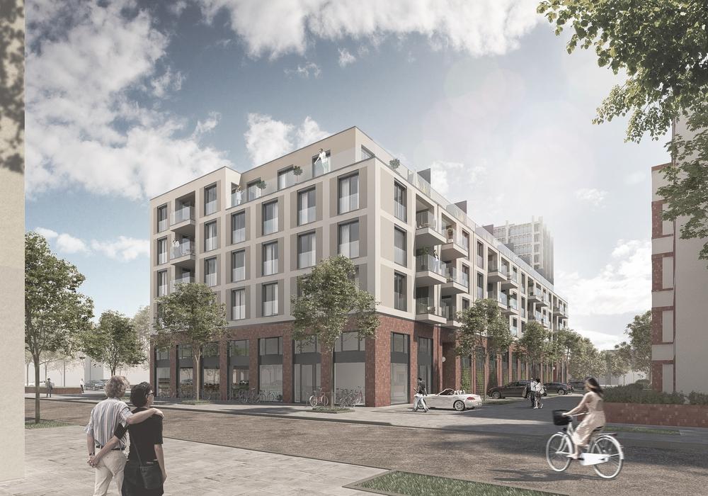 Baugebiet 'Langer Kamp': Der Neubau fügt sich nahtlos in das bestehende Umfeld ein. Foto/Grafik: GIESLER ARCHITEKTEN, Visualisierung: Homebase2 GmbH