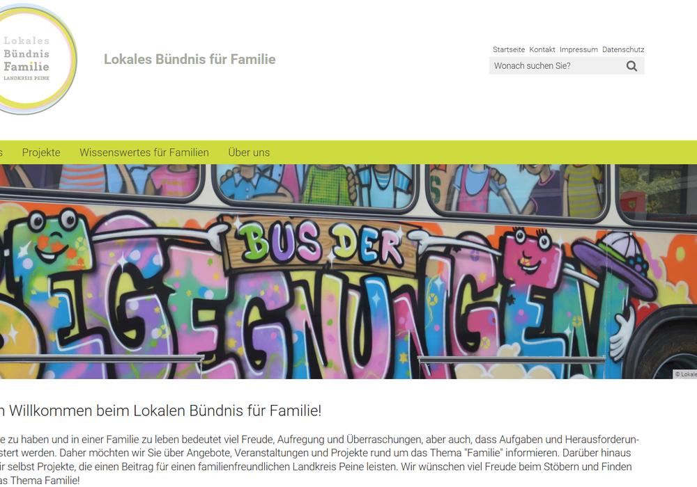 Das Lokale Bündnis für Familie im Landkreis Peine präsentiert sich auf einer neuen Homepage. Screenshot: Landkreis Peine