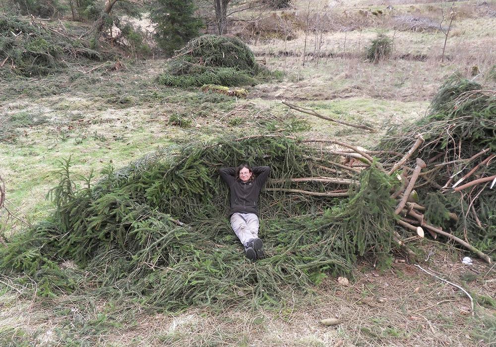 """Nach erfolgreicher Entfichtung eines Harzer Bachtals ruht sich ein Teilnehmer des Bergwaldprojekts auf einem """"Waldsofa"""" aus. Foto: Bergwaldprojekt"""