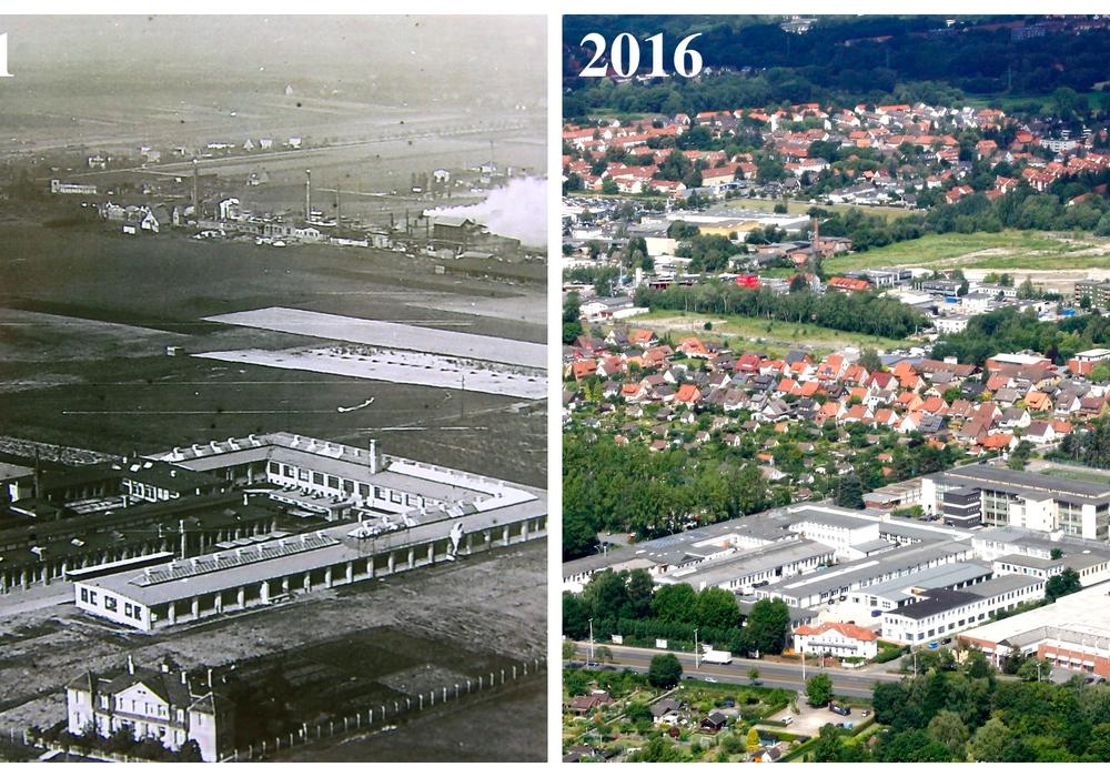 Links das Voigtländer Werk im Aufbaustadium, 1931. Rechts das Gebiet im Jahr 2016, nachdem viele Teile des ehemaligen Werks bereits abgerissen wurden. Fotos/Collage: Privat/Nick Wenkel