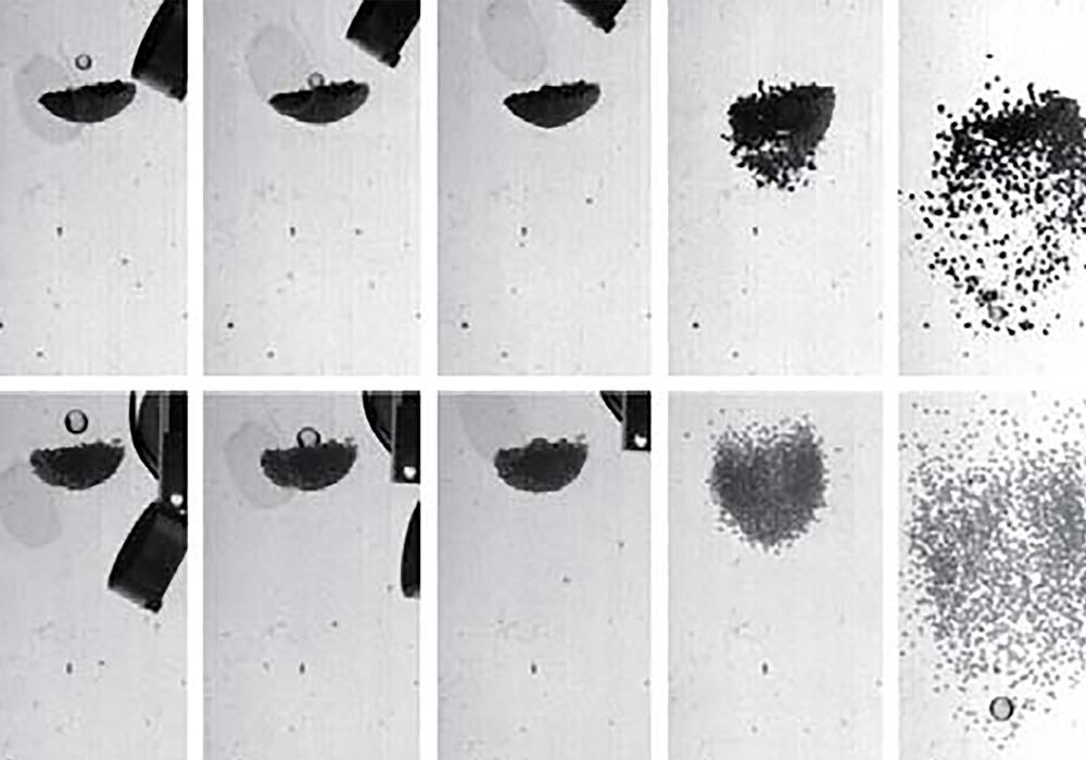 Zwei Beispiele für Kollisionen, wie sie von Katsuragi und Blum untersucht wurden. Obere Reihe: Eine Glaskugel trifft auf einen Klumpen aus Staubagglomeraten. Untere Reihe: Eine Glaskugel trifft auf einen Klumpen aus Glasperlen. Die fünf Bilder von links nach rechts zeigen jeweils die mit hoher Aufnahmegeschwindigkeit fotografierten Stöße. Fotos: Ingo von Borstel, Hiroaki Katsuragi, Jürgen Blum/TU Braunschweig