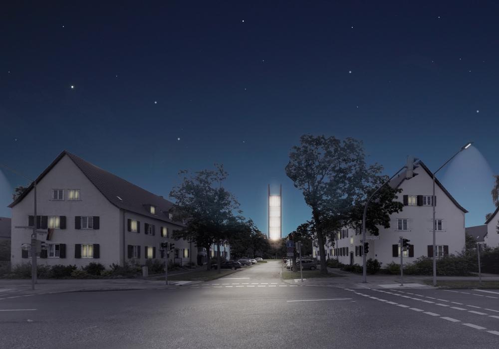 """Daniel Spievak, """"Collab. Leuchtturm der Resilienz"""", 1. Preis Wolfsburg Award for urban vision 2016. Foto: Stadt Wolfsburg"""