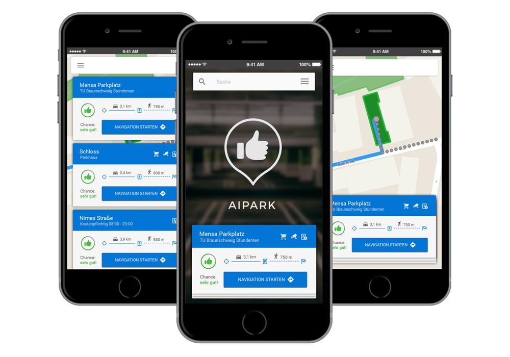 Die AIPARK-App auf dem Smartphone. Bild: Julian Glaab/AIPARK.