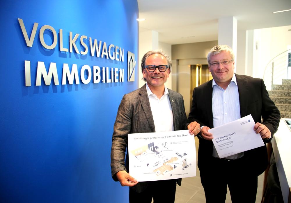 VWI-Geschäftsführer Meno Requardt (rechts) und Ulrich Sörgel stellten die Ergebnisse der Befragung vor. Foto: Presse- & Öffentlichkeitsarbeit Volkswagen Immobilien GmbH