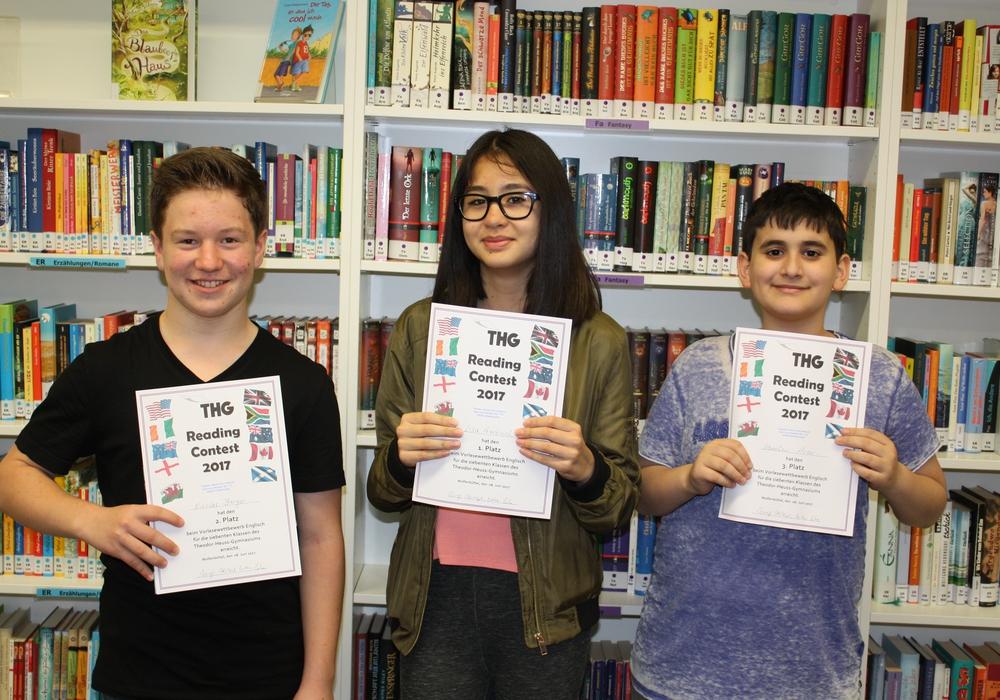 Die drei Bestplatzierten: Nicolas Berger, Lisa Garbisch und Karahan Acar. Foto: THG