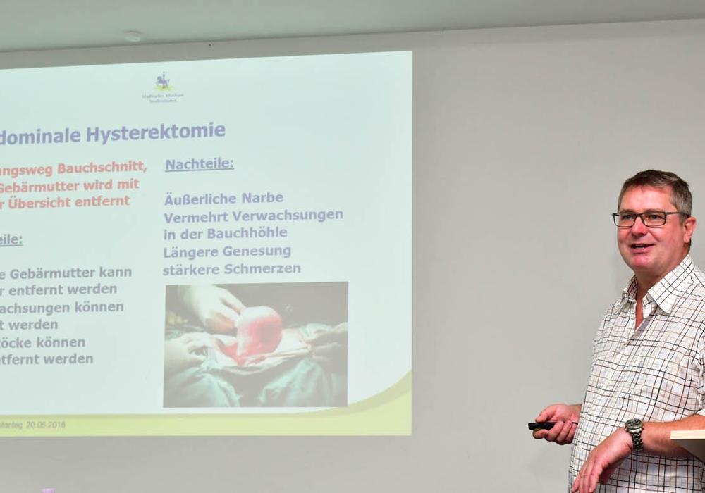 Matthias Buhles, Chefarzt der Klinik für Gynäkologie und Geburtshilfe, ging in seinem Vortrag unter anderem auf die verschiedenen Ursachen für eine Gebärmutterentfernung und die entsprechenden Operationsmöglichkeiten ein. Foto: Städtisches Klinikum Wolfenbüttel