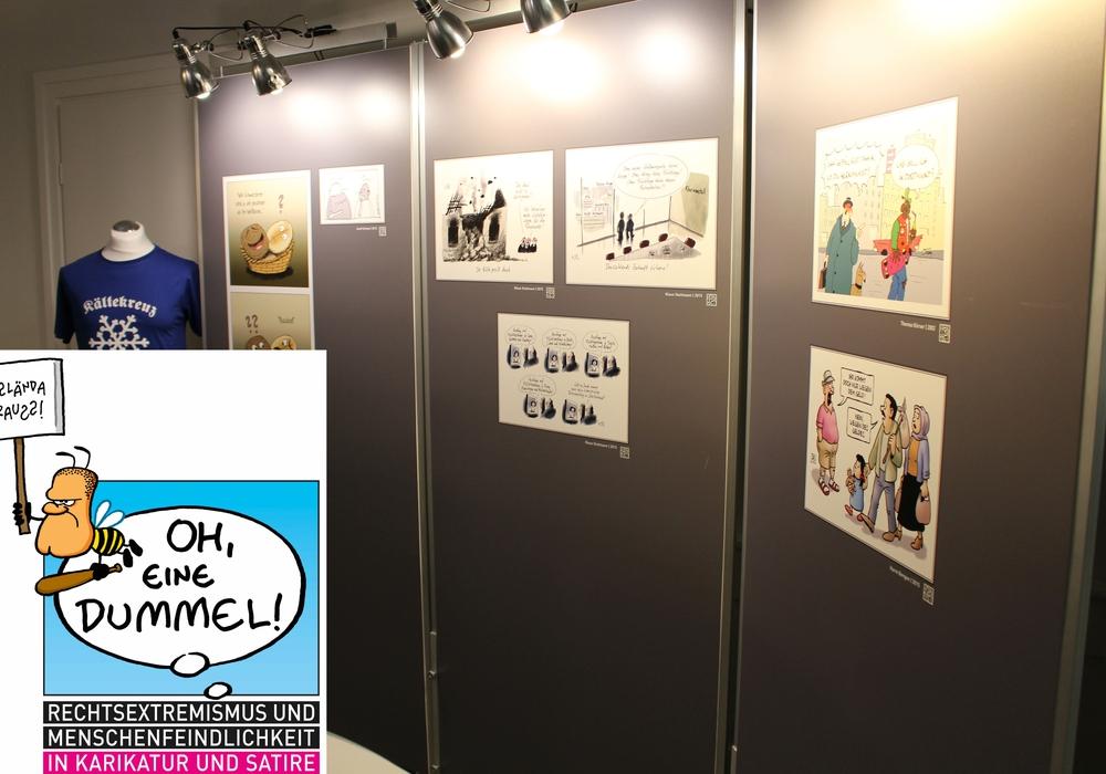 """Ausstellungslogo von """"Oh, eine Dummel!"""" mit der Zeichnung von Ralph Ruthe/Foto: André Ehlers"""
