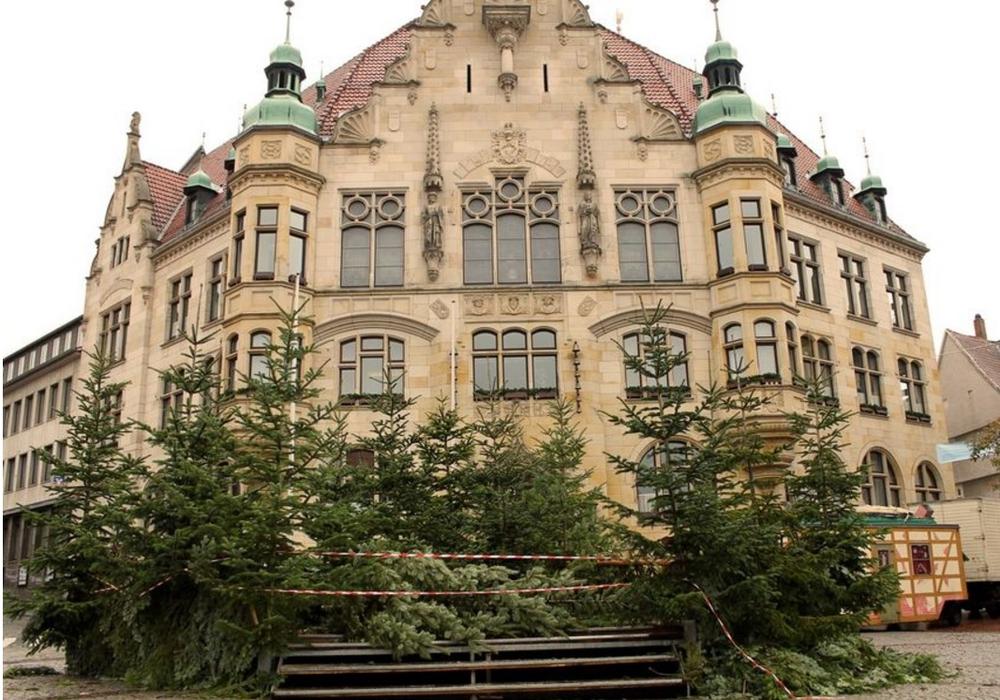 Der Weihnachtswald wird aufgebaut. Foto: Stadt Helmstedt