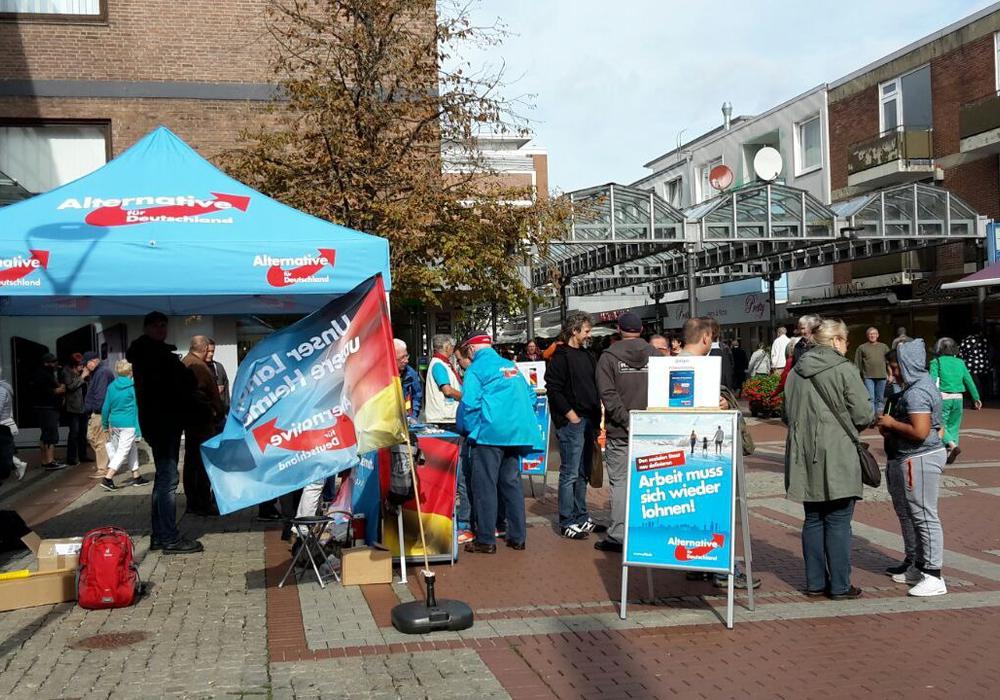 Die AfD mit ihrem Stand auf dem Bauernmarkt in Lebenstedt. Foto: AfD Salzgitter