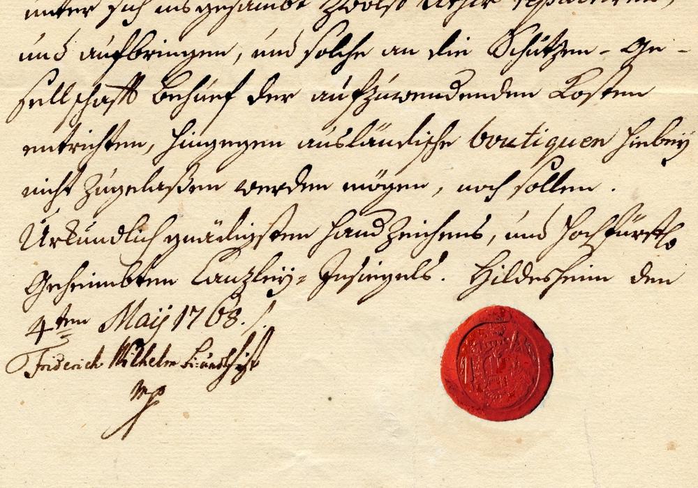 Ein Ausschnitt der Resolution von Bischof Friedrich-Wilhelm von 1768. Foto: Stadtarchiv Peine