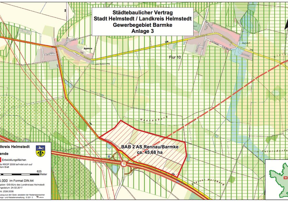 Hier soll das Gewerbegebiet Barmke entstehen. Darstellung: Landkreis Helmstedt