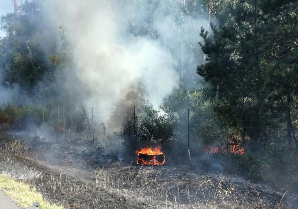 Das Feuer wurde durch ein defektes LKW-Rad ausgelöst. Foto: Polizei