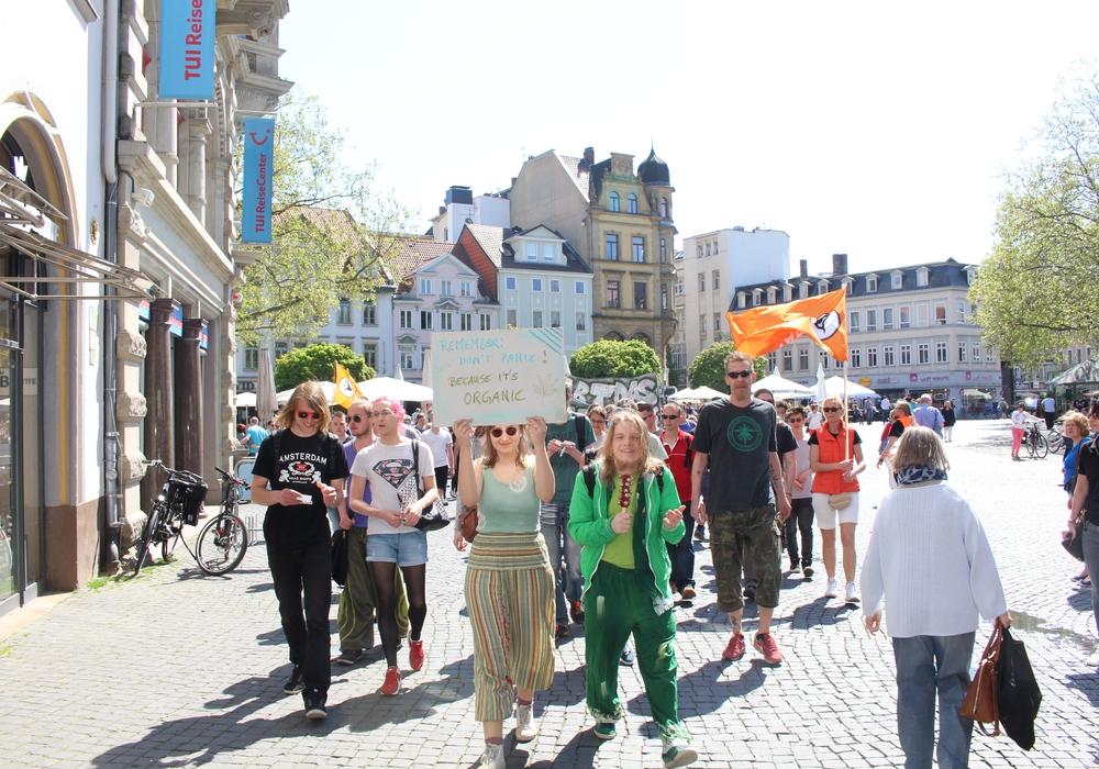 """Etwa 60 Teilnehmer beteiligten sich am """"Global Marijuana March"""" in Braunschweig. Fotos: Jan Borner"""