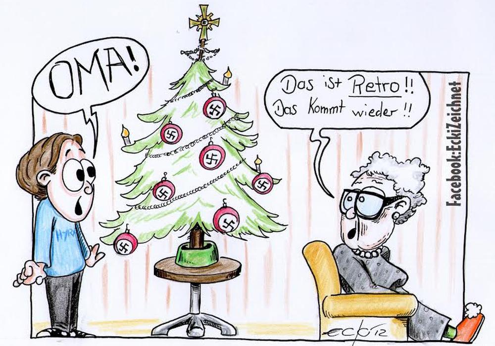 Eine Karikatur von Ecki (Christian Eckert), 2012, Generationen - Hakenkreuz Foto: CD Kaserne gGmbH