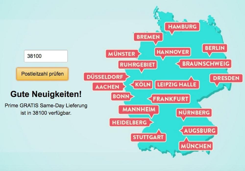 Braunschweig wurde jetzt ins Liefergebiet der Same-Day Bestellungen mit aufgenommen. Screenshot: Amazon Website