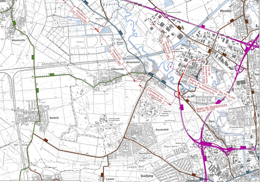 Ortsumgehung Watenbüttel, Quelle: Auszug aus den Geobasisdaten der Niedersächsischen Vermessung- und Katasterverwaltung