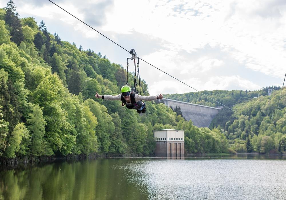 """Megazipline an der Talsperre Wendefurth belegt den Ersten Platz in der Kategorie """"Spaß Pur"""" Foto: Harzer Tourismusverband e.V."""