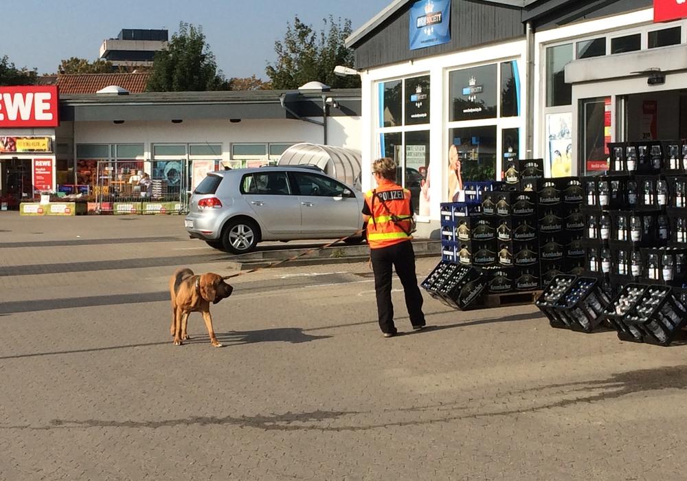 Mantrailer vorm REWE-Markt. Foto: Polizei Peine.