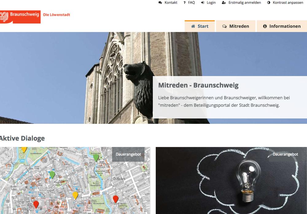 """Das neue Bürgerportal """"Mitreden"""" der Stadt Braunschweig ist am Start.  Ideen und Hinweise können nun einfach online eingereicht werden. Screenshot: Anke Donner"""