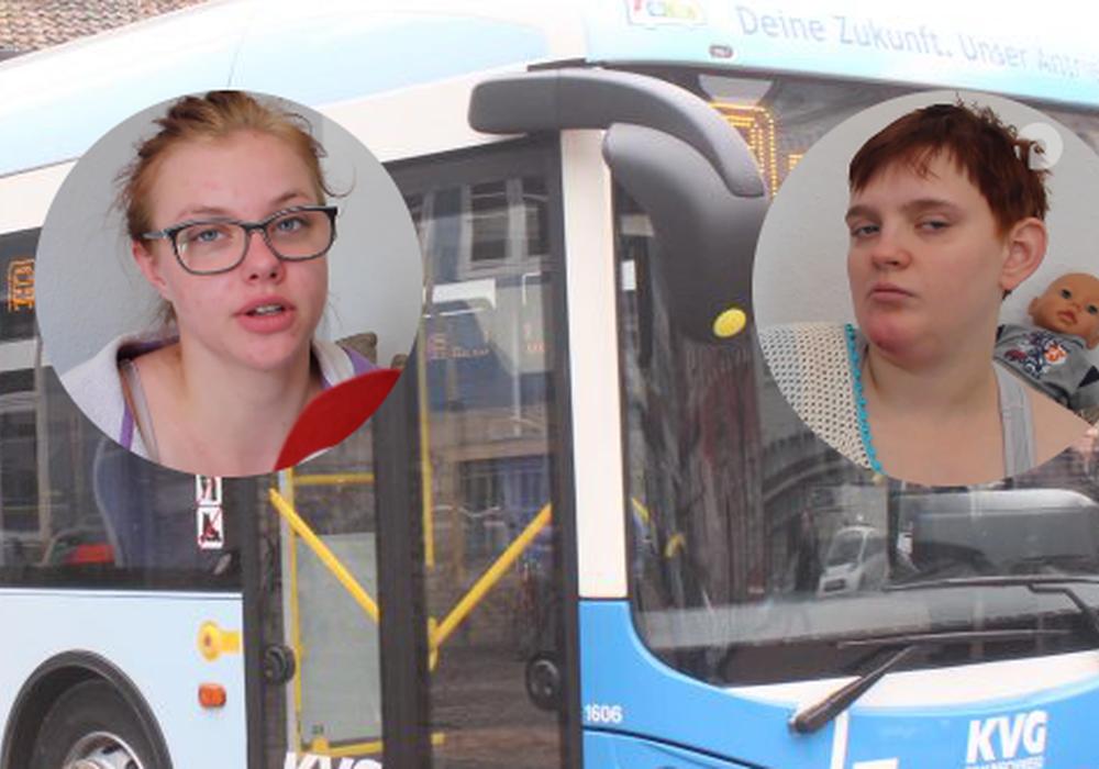 Für Angelina Knoll (l.) und Laura Jasmin Gahren (r.) hatte die Busfahrt einen bitteren Nachgeschmack. Fotos: Anke Donner/Eva Sorembik