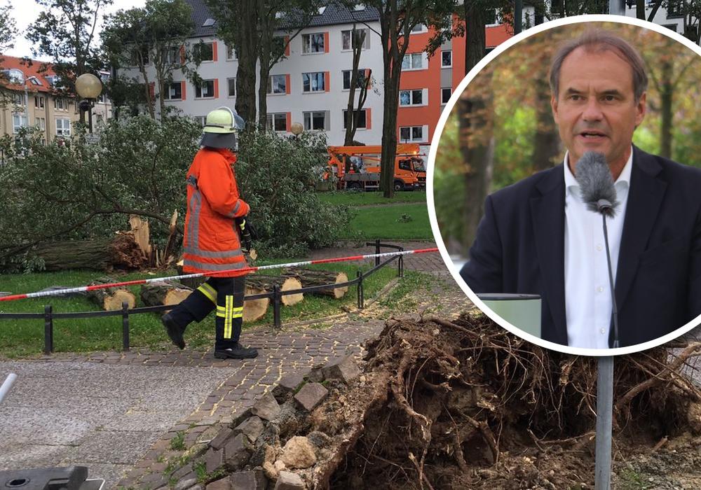 Oberbürgermeister Ulrich Markurth dankt den Helfern für den Einsatz während des Sturms. Foto: Aktuell24(BM)/Anke Donner