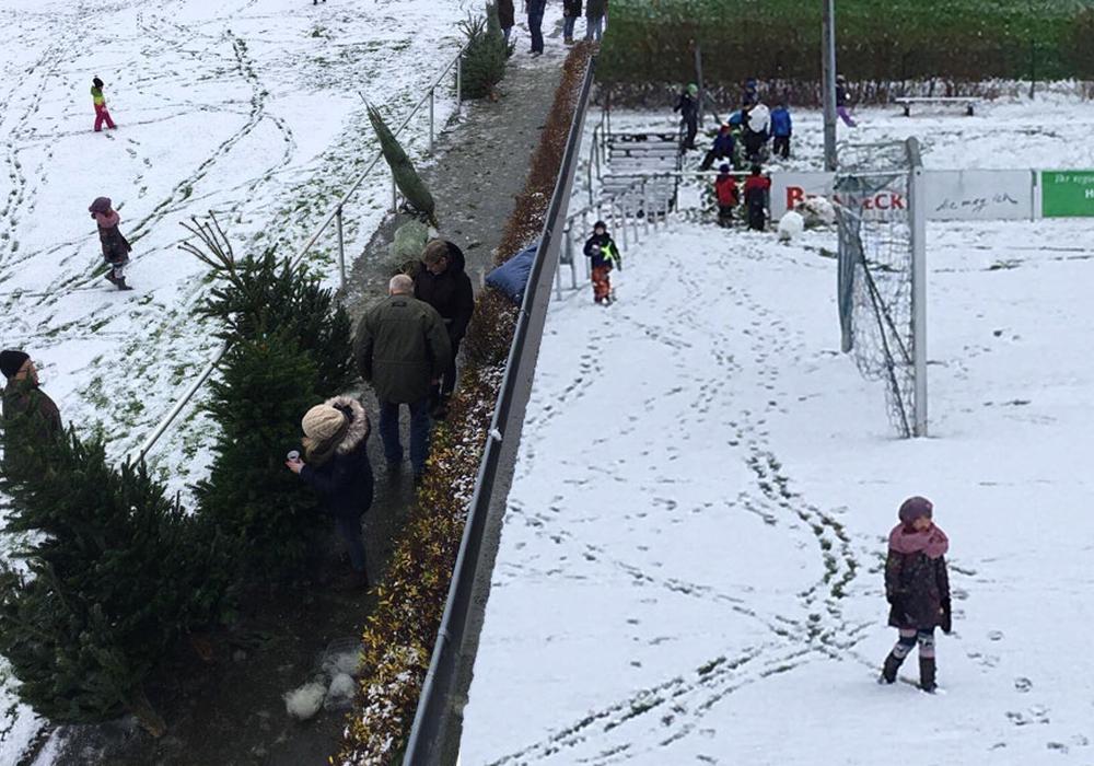 Während die Eltern die Bäume kauften, konnten sich die Kids im Schnee austoben. Fotos: FC Othfresen, Mirko Steinert