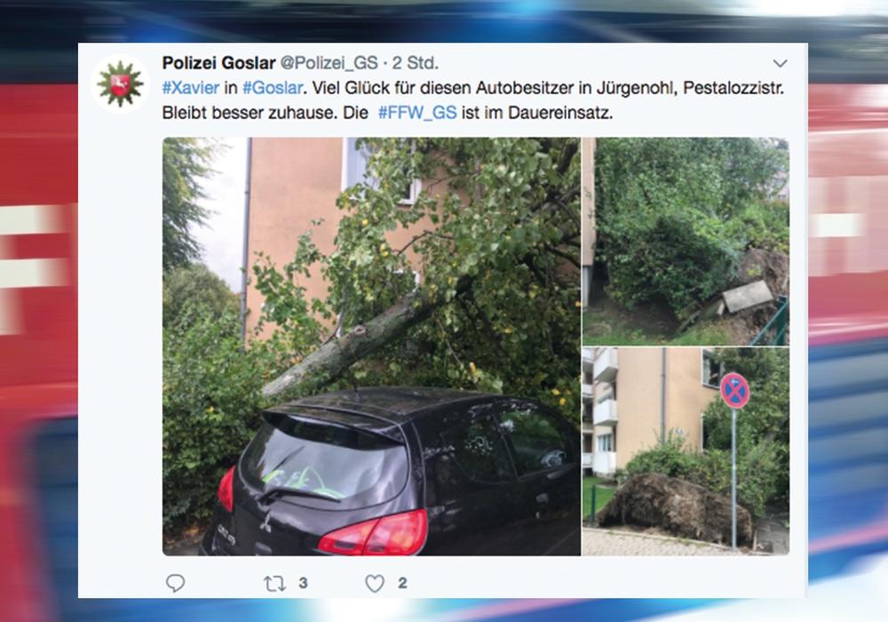 Auf Twitter warnt die Polizei Goslar vor Xavier. Quelle: Twitter