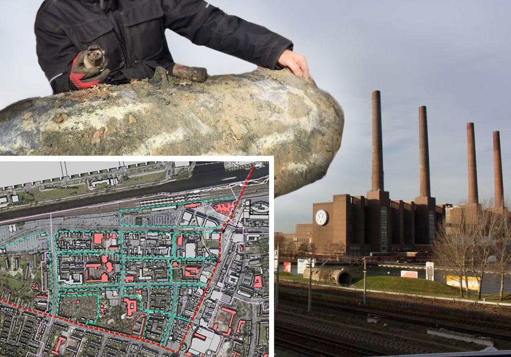 Im VW-Werk wurde eine alte Fliegerbombe gefunden. Am Sonntag soll sie entschärft werden. Fotos: regionalHeute.de; Karte: Stadt Wolfsburg