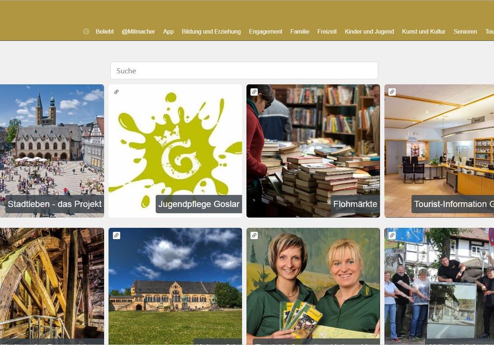 Von Ratsinformationen, Kfz-Zulassung, Vereinen und Sehenswürdigkeiten bis hin zum Online-Fundbüro ist auf Stadtleben.goslar.de alles zu finden. Screenshot: Stadt Goslar