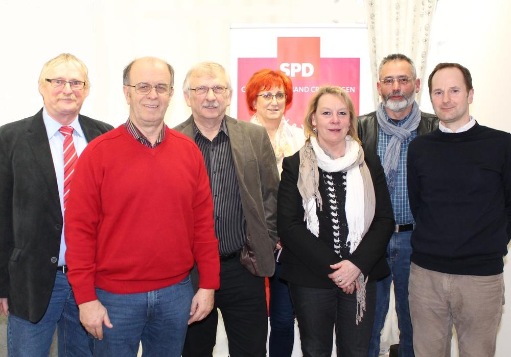 Die Kandidaten: Burkhard Wittberg (Gardessen), Harald Koch (Weddel), Achim Eichenlaub (Klein Schöppenstedt), Ute Baars (Hemkenrode), Susanne Rudolph (Cremlingen), Reinhold Briel (Hordorf), Bernd Telm (Schandelah)  Foto: SPD