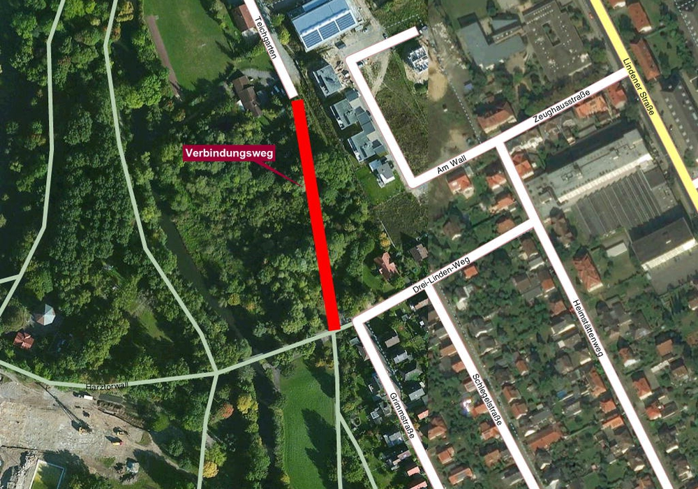 Der Verbindungsweg zwischen Teichgarten und Drei Linden soll saniert werden. Foto/Karte: maps4news/HERE/regionalHeute.de