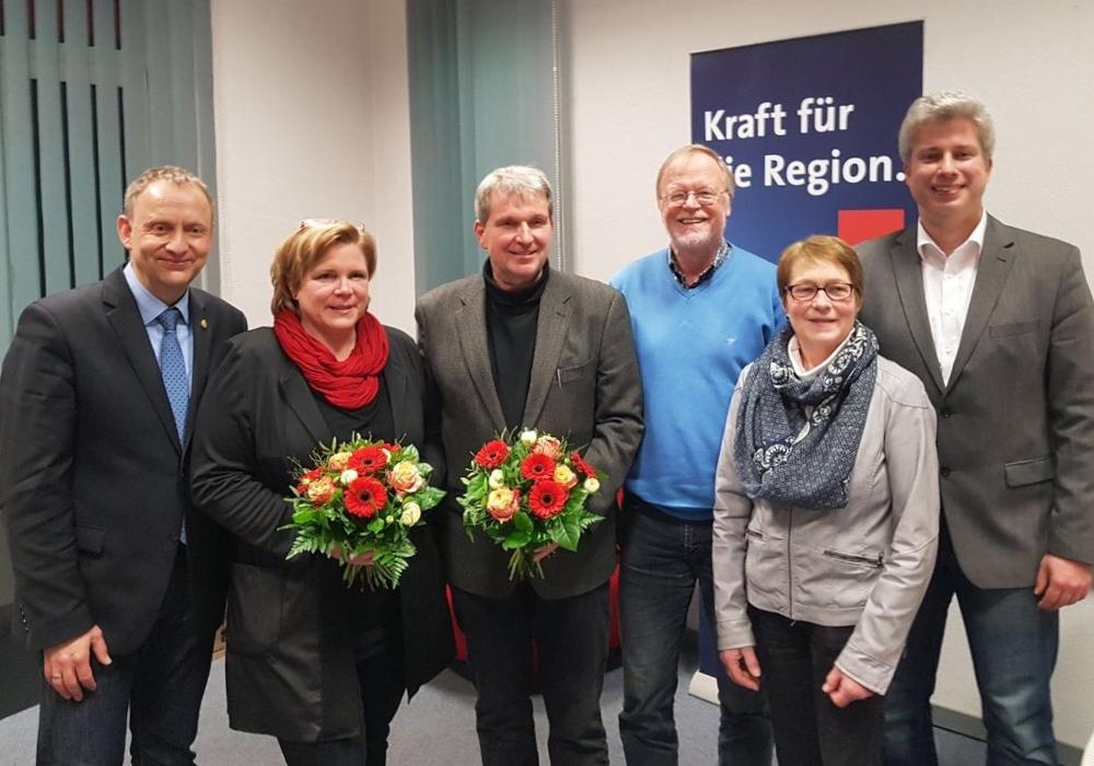v.li: Klaus Saemann, Simone Pifan, Jörg Zimmermann, neuer Vorsitzender, Bernd Kielhorn, Ute Alheid, Maik Meyer. Es fehlt Frank Hildebrandt. Foto: SPD-Stadtverband