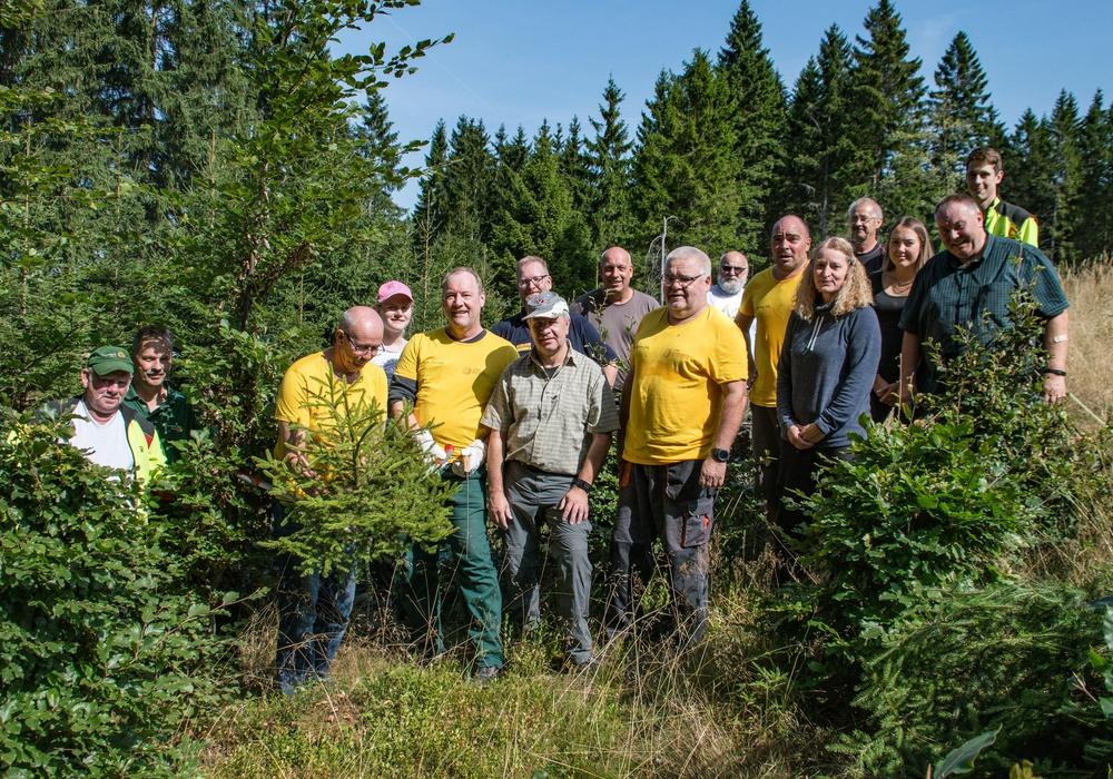 Post-Mitarbeiter im Arbeitseinsatz. Fotos: Nationalpark Harz