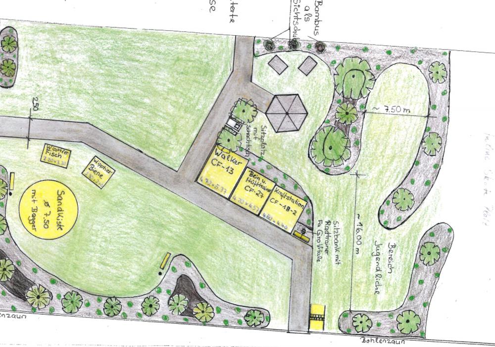 Der Mehrgenerationenspielplatz nimmt Formen an. Plan: Gemeinde Leiferde
