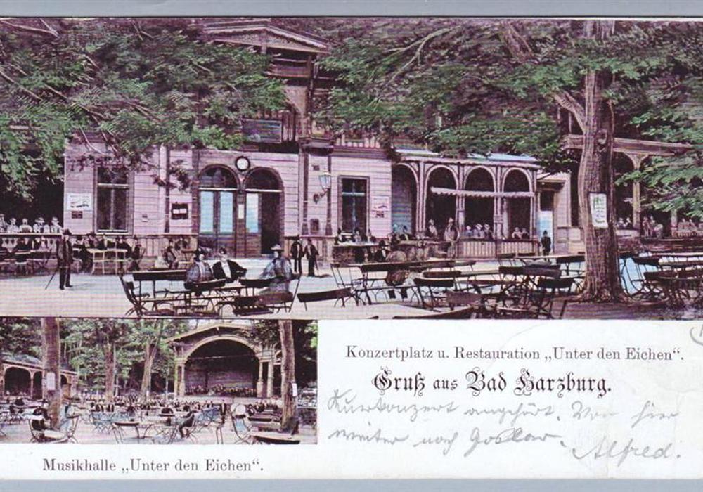 Die alten Arkaden am Burgberg, heute überbaut durch die Bundesstraße 4, nachdem der Kurpark in Richtung Radau verschoben wurde, historische Postkarte, Foto: Hersteller