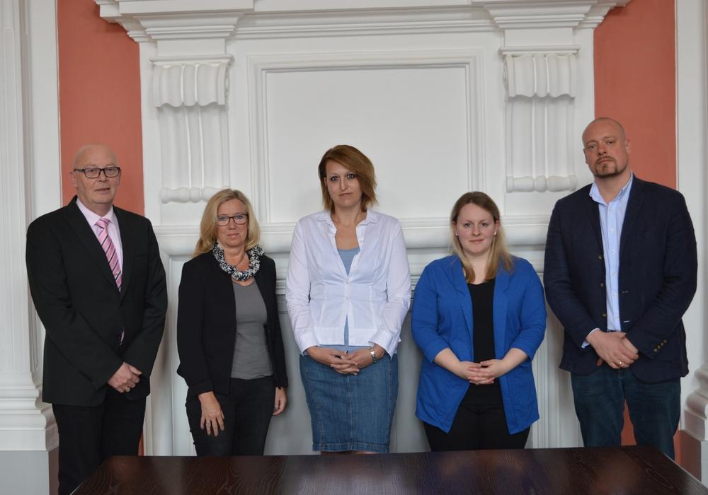 V.l.: Reiner Liborius, Petra Eickmann-Riedel, Uta Drews, Alina Curland und Steffen Köppe. Samtgemeinde Sickte