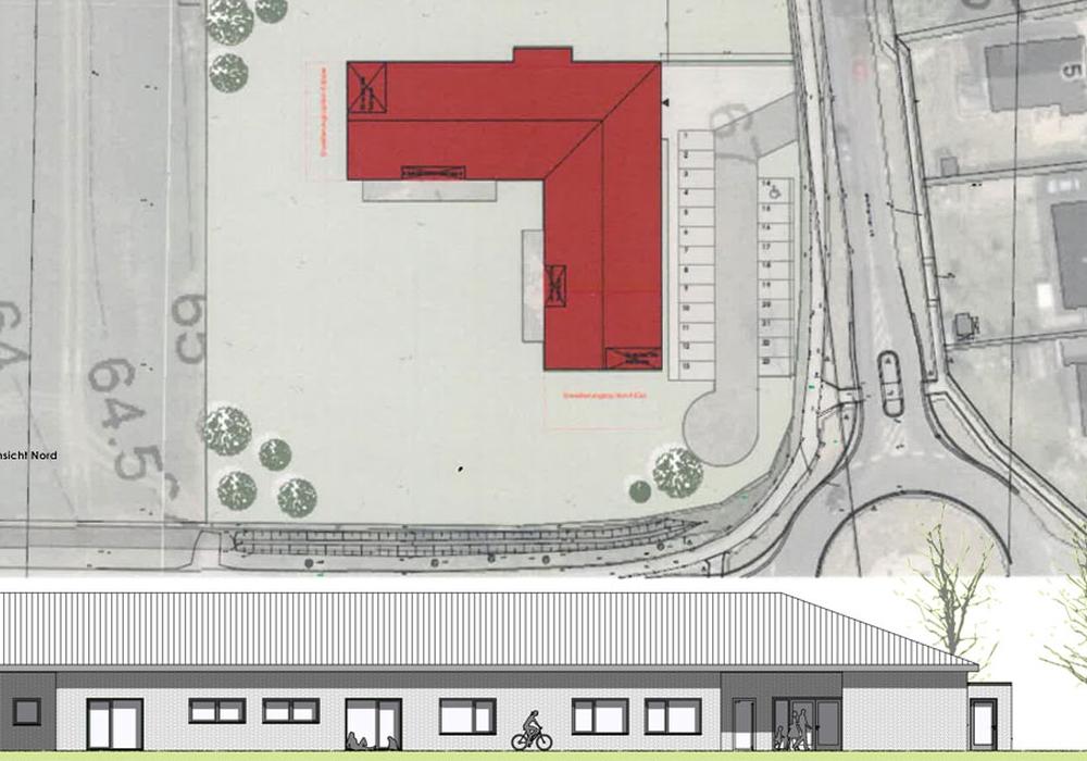 Hier die geplante Kita von oben und von der Seite. Plan: Samtgemeinde Isenbüttel